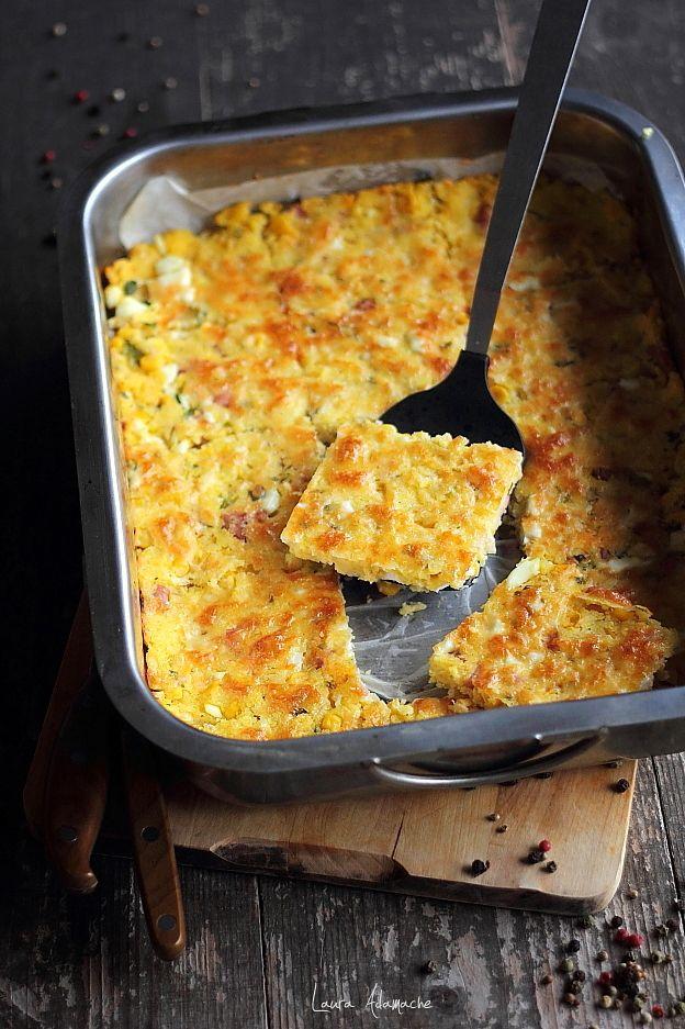 Tarta cu porumb reteta gustare calda pentru pranz sau cina. Reteta tarta cu porumb si bacon. Ingrediente si preparare tarta porumb Sun Food.