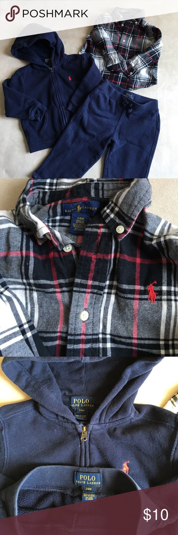 Ralph Lauren bundle Polo Ralph Lauren zip up hoodie and sweatpants - color is dark blue - Ralph Lauren black, white and red, long sleeved, button up shirt - both are size 24months - both have been lightly used. Ralph Lauren Shirts & Tops