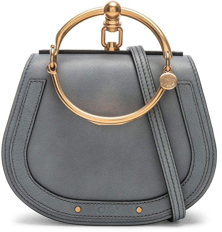 d2a1f41707 Chloé Small Nile Bracelet Bag Calfskin & Suede in Cloudy Blue   FWRD ...