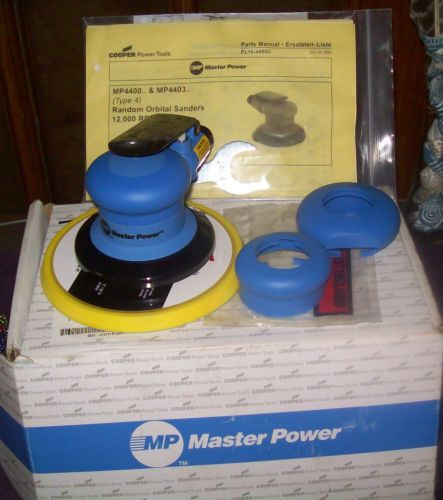 Master Power Random Orbital Sanders in Sandis_gifts' Garage Sale in Binghamton , NY for $175. THIS WOULD MAKE A GREAT CHRISTMAS FOR ANY GUY       MP4400 Series Random Orbital Sanders   ■ New improved air shield shaft balancer for longer  bearing life. ■ The low profile gives the operator more sanding  control and greater comfort. ■ Consumes less air than comparable tools� ideal for  small shops with  ...