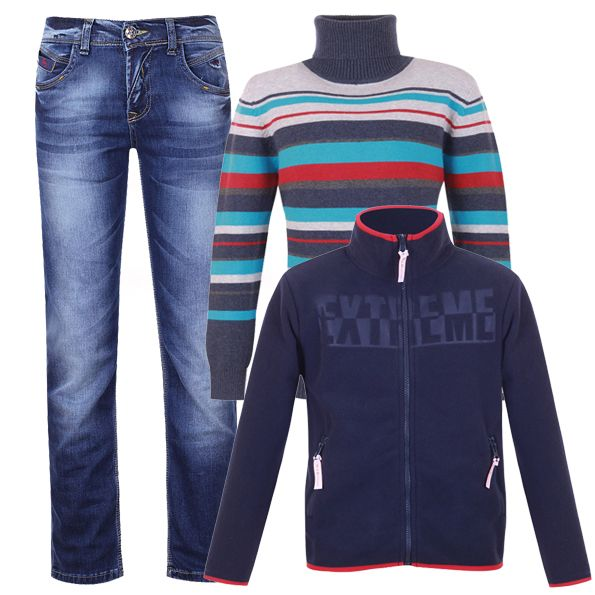 Прямые джинсы, трикотажная водолазка и флисовая толстовка - стиль casual для девочки-подростка.