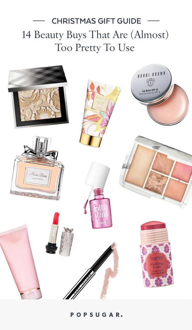 Popsugar christmas gift and present guide for beauty products that are too pretty to use includes Bobbi Brown, Tarte, Dior.