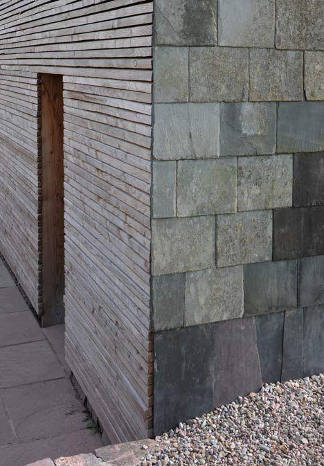 larch paneling and slate tile siding