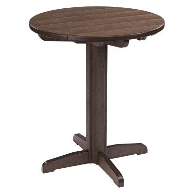 Outdoor CR Plastic Generations 40 in. Round Pub Height Table Chocolate - TBT13-16