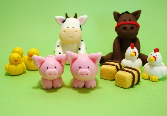Farm animals cake topper. Fondant farm by SugarDecorByLetty