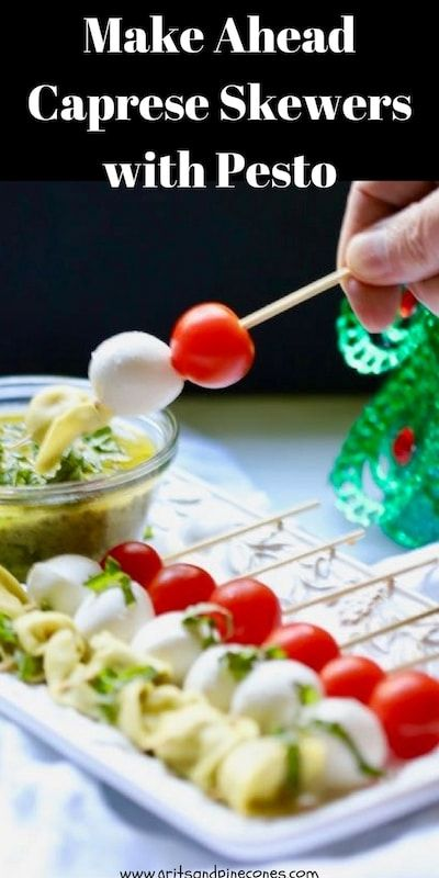 Make-Ahead Caprese Skewers with Pesto dressing is simple, yet delicious, a family favorite, and the perfect festive appetizer to serve your holiday guests. #appetizerrecipes, #appetizers, #partyfood, #christmasrecipes, #christmasappetizers, #christmaspartyrecipes, #capreseskewers via @gritspinecones