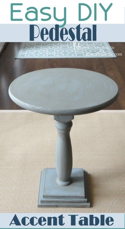 Build this easy pedestal accent table for just $25! Tutorial on Remodelaholic.com