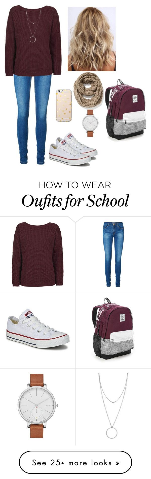 """Converse Chuck Taylor All Star - 15 #School"" by inlovewithtay on Polyvore featuring Converse, Vero Moda, The Ragged Priest, Botkier, Old Navy, Victoria's Secret, Skagen, converse and allstar"