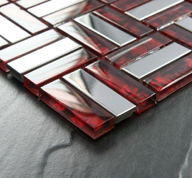 Brick Stainless Steel Mosaic Tile Glass Mosaic Kitchen Backsplash Tiles Ssmt021 Silver Stainless Steel Mosaic Red