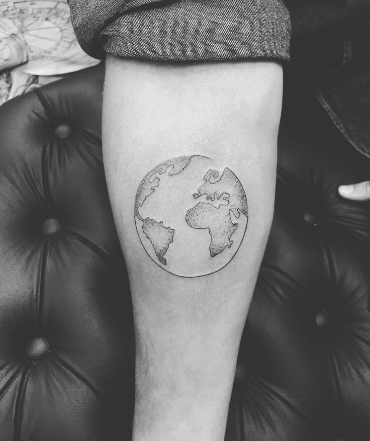 Globe tattoo. Would want some blue and green water color.