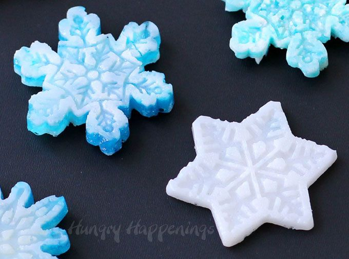 Use a Wilton Stack-n-Melt Silicone Snowflake Mold to create beautiful hard candy snowflakes. See how easy they are to make at HungryHappenings.com