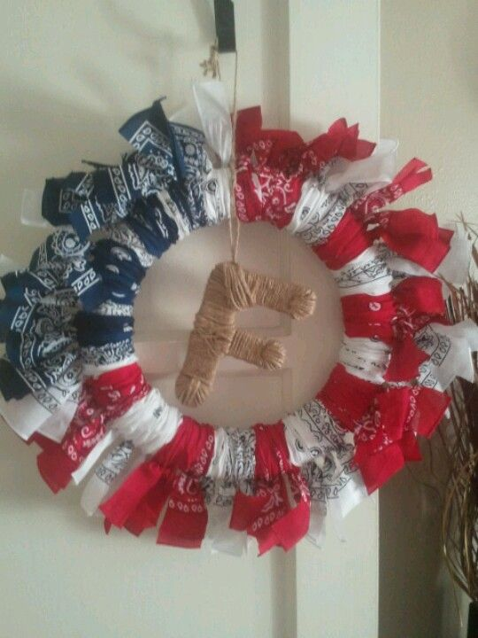 Bandana Wreath ~ I want to make a Bandana Rag Wreath ~ So ...