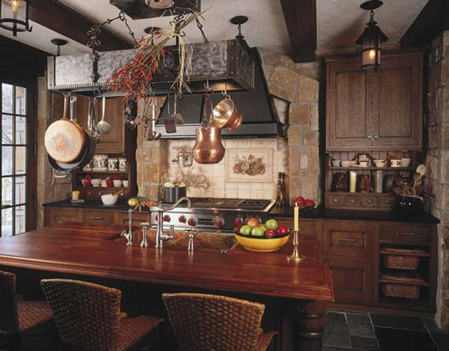 Old world kitchen with brick hearth and ceramic tile for Old world style kitchen