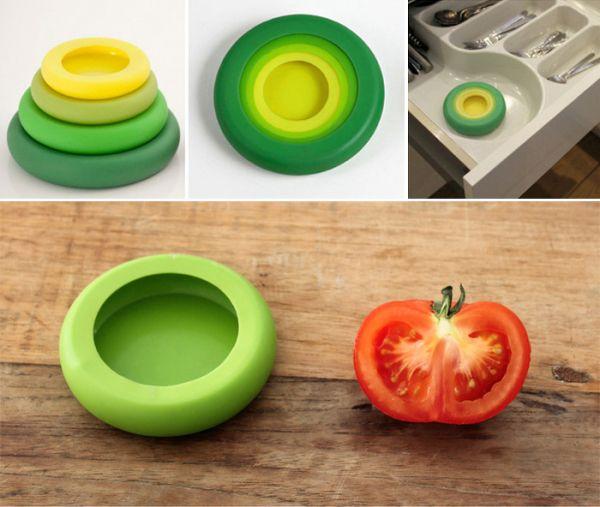 Хранение разрезанных овощей и фруктов: Food Huggers так же удобны для использования в качестве крышек для открытых консервных банок или даже стаканов. Они достаточно хорошо