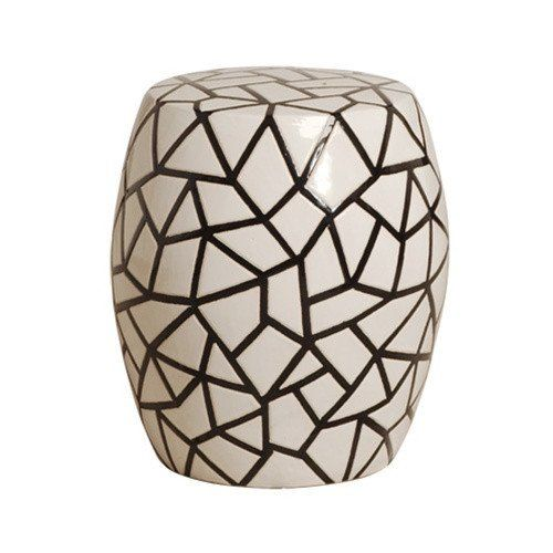 Ice Ray Garden Stool in Black & White design by Emissary