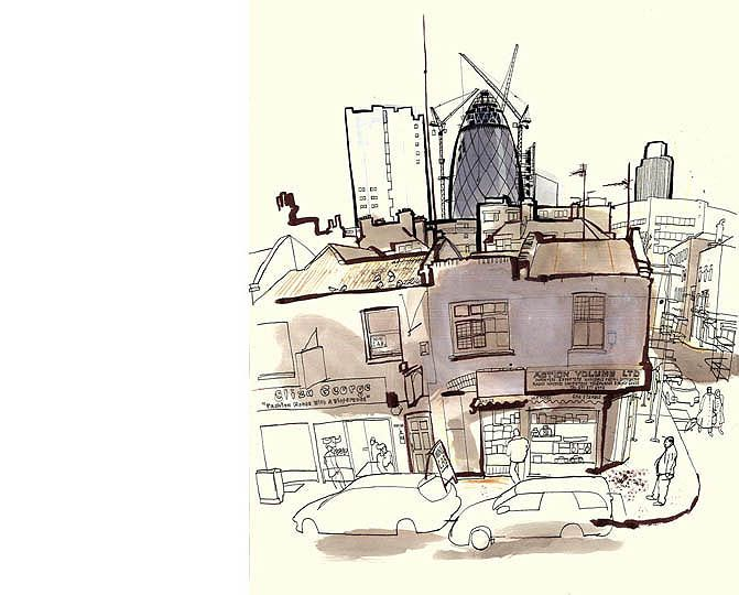 Lucinda Rogers began a series in London in 2001 with a drawing made on a roof in Spitalfields. Working from life in pen and ink and watercolour, she began to record buildings and ways of life that are changing or disappearing, particularly in the East End.