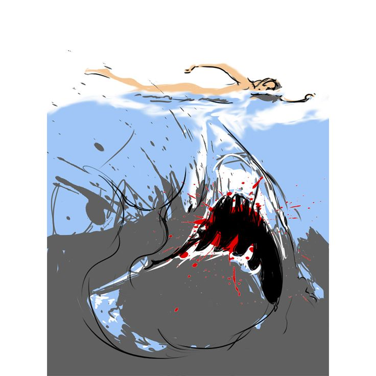 Did you know that the now iconic 'Jaws' poster came about by chance? What a happy accident.   Rediscover the icons of pop culture with Philippe Le Miere's new series, 'Clickbait'.   'Cult classic shark horror Jaws' - Philippe Le Miere, pigment on paper