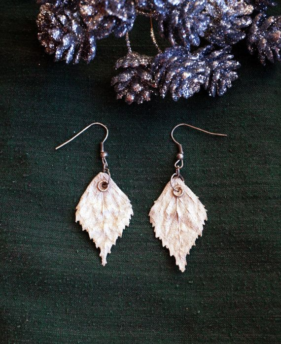Silver birch leaves earrings. Electroplating. Sold out.