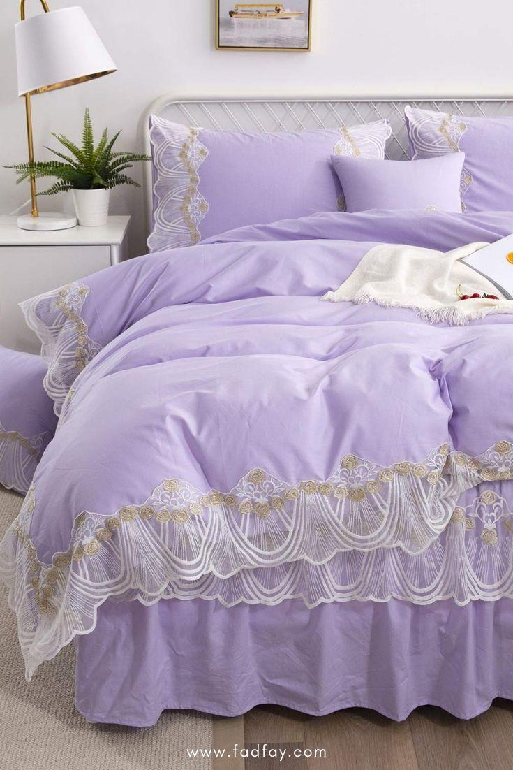 3pcs Girls Bedding Set 100 Cotton Solid Purple Princess Lace