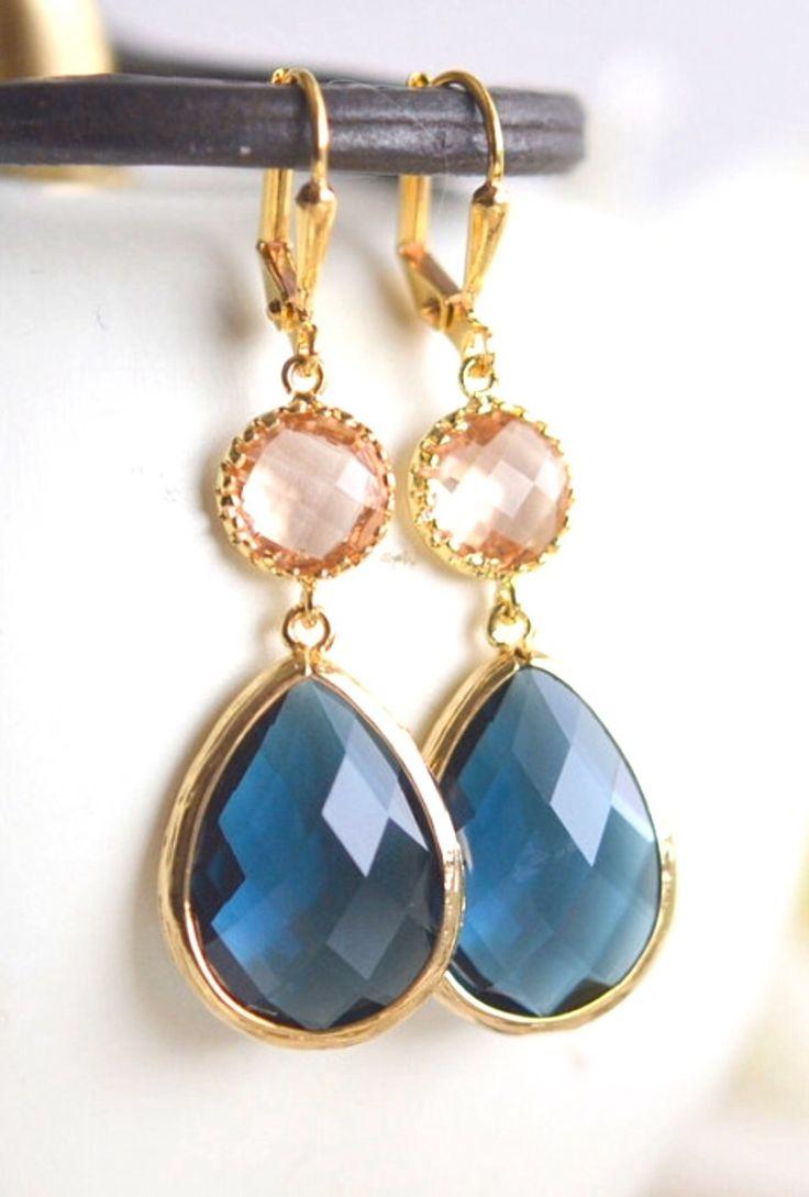 Navy Earrings. Champagne Peach Earrings. Bridesmaid Jewelry