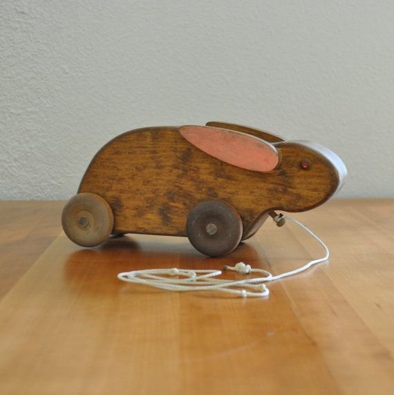 vintage wooden rabbit pull toy