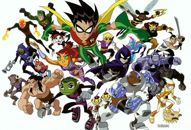 The principal voice cast from the original Teen Titans series, based on DC Comics characters, will reprise their roles in Teen Titans Go! Description from comics-x-aminer.com. I searched for this on bing.com/images