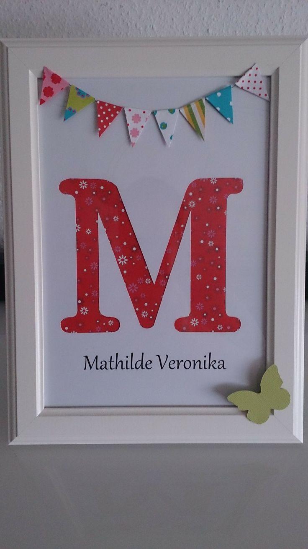 Monogramm, Geschenk zur Geburt / Taufe www.frollein-karla.de www.facebook.com/frolleinkarla