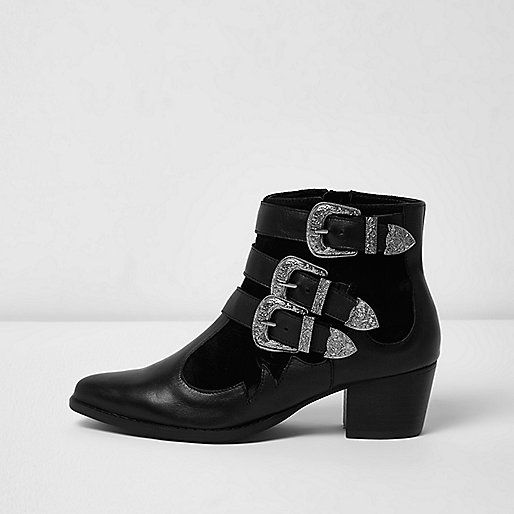 Black wide fit leather western buckled boots