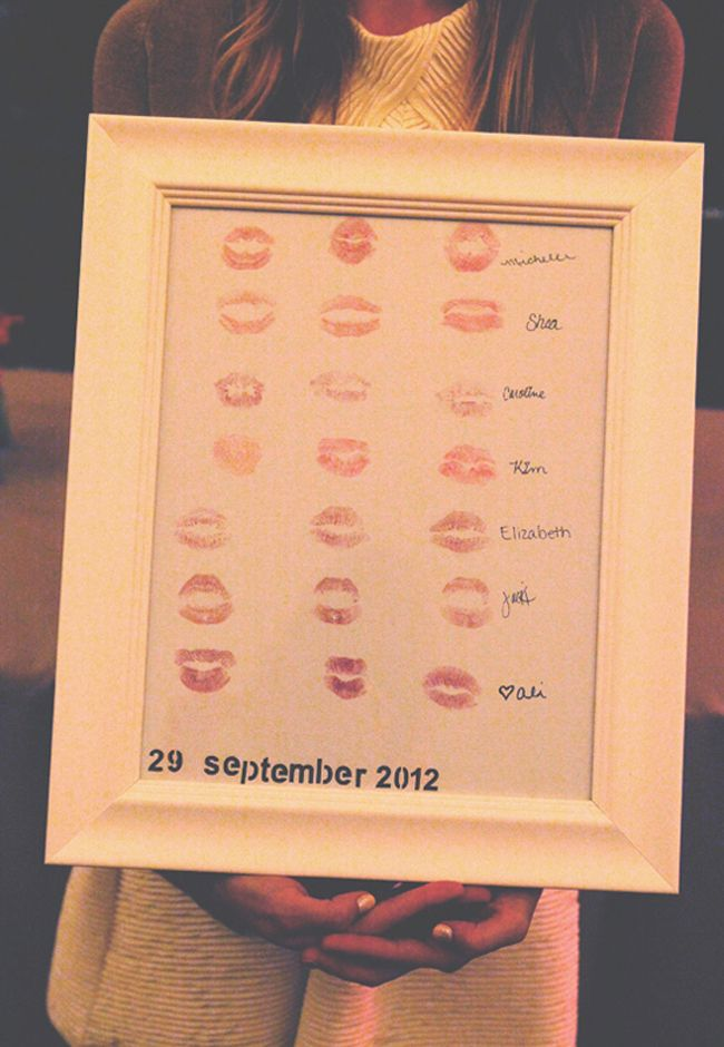 Here's a great idea if you're part of a Bridal party.  Get all the Bridesmaids to kiss a piece of paper with their favorite lip shade and sign it.  Then you can give to the bride as a wedding gift!  Re-pin and click here to win up to 30 Lipsticks from Milani!   http://womanfreebies.com/general-freebies/30-lipsticks-in-30-days/?kissposter  *Expires February 20, 2013*