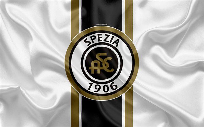 Download wallpapers Spezia Calcio, 4k, Serie B, football, silk texture, emblem, silk flag, logo, Italian football club, La Spezia, Italy, Spezia FC