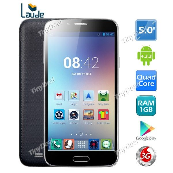 "(Presell)(LAUDE) MAY S500 5"" qHD MT6582 Quad Core Unlocked 3G Phone 5MP CAM 1GB RAM 4GB ROM Smart Sensor P05-S500"