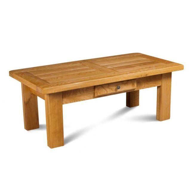 Hellin Table Basse Rectangle La Bresse Bois Chene Massif Table