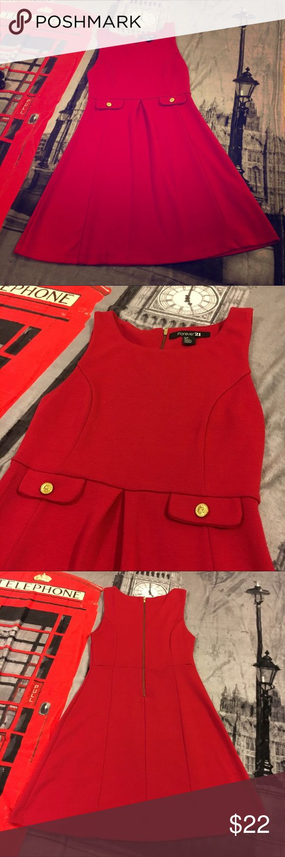 Little Red dress vintage style 1960's Excellent condition, no flaws- Classic short red tank dress with fitted bodice & soft flair/front pleat skirt. Gold button & exposed back zipper detail. Forever 21 Dresses