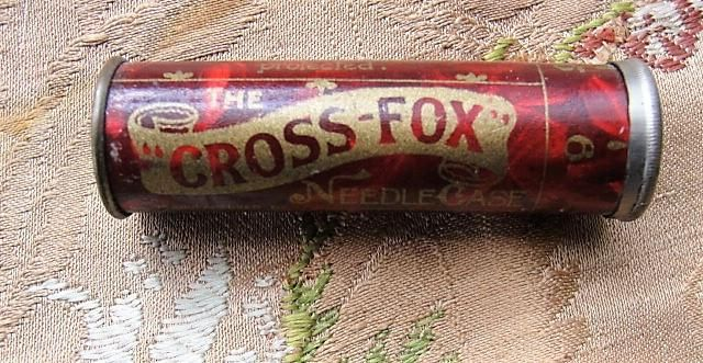 ANTIQUE Cross Fox Needle Case Abel Morrall Needles Sewing Collectible