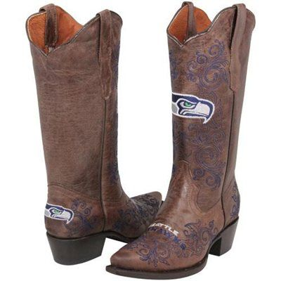 Seattle Seahawks Womens Embroidered Cowboy Boots - Brown
