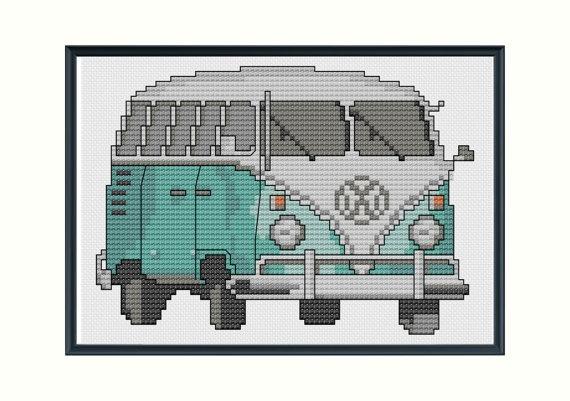 Vintage VW Bus cross stitch