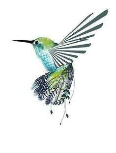 Tribal Green Hummingbird Tattoo Design