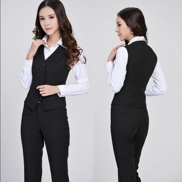 BEBE Business Suits Vest and Pant Professional Business Suits Vest + Women Blazers Ladies Office Trouser Set Pantsuits Fashion Women Career Slim Suits (Vest + Pants) Elegant, Formal Style for Office Ladies  Vest Color: Black  size small --Pant size 3/4Color: Black Material: Cotton & Blazer Fiber the pant are a size 4 the vest is a small but the fabric  stretch please ask all question before purchase  bebe Tops