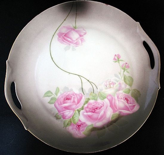 Z.S. & Co. Bavaria Signed Hand Painted Pink Roses Cake Plate ~ from Flashback Collectibles & Antiques on Ruby Lane