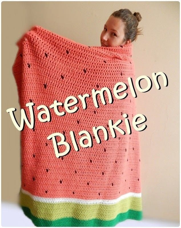 [Free Pattern] Simple And Delicious Watermelon Crochet Blanket - Knit And Crochet Daily