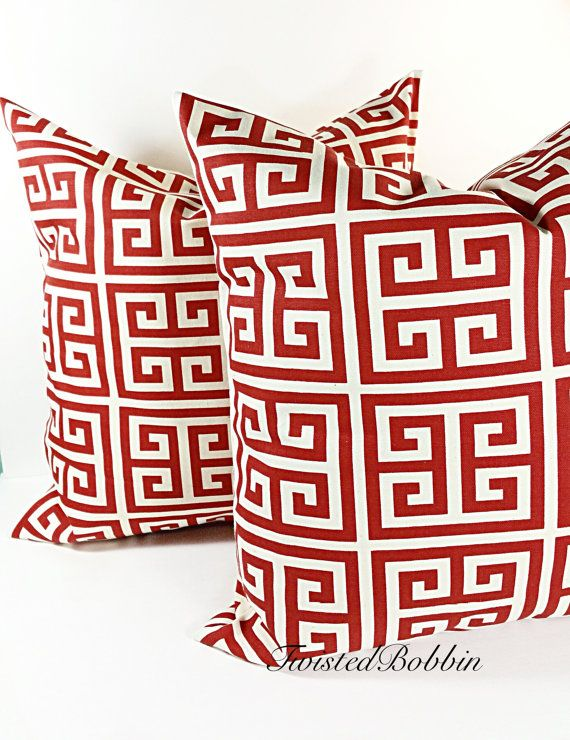 Greek tower red & natural Cushion  Covers by TwistedBobbinDesigns
