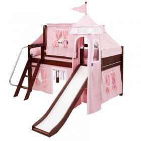 Skylar Low Loft Bed with Light Pink Castle Tent ♥ Discover the season's newest designs and inspirations by Rosenberry. | Visit us at http://kidsbedroomideas.eu/ #furnituredesign #kidbedroom #kidsroom #kidfriendly #bedroomdecor
