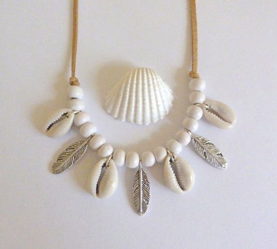 bohemian jewelry, cowrie shell necklace, feather necklace, gypsy necklace, bohemian necklace, beachcomber boho necklace by beachcombershop on Etsy https://www.etsy.com/listing/248776978/bohemian-jewelry-cowrie-shell-necklace
