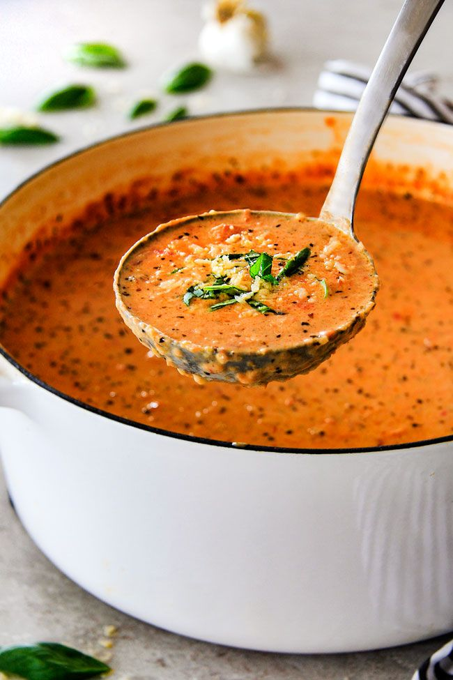 This Parmesan Tomato Basil Soup Recipe recipe is our family favorite! Its super easy without any chopping! bursting with flavor and I love the addition of Parmesan!