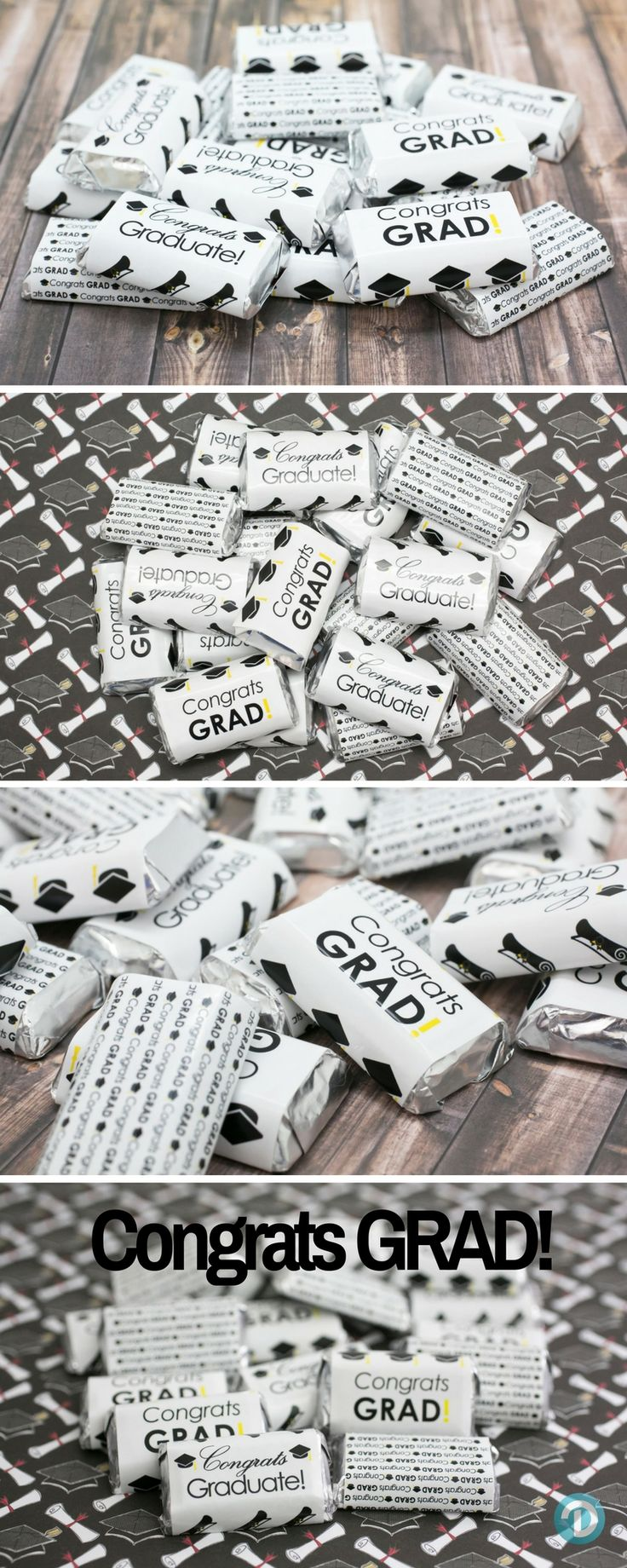 Congratulations Graduate! Enjoy  these Graduation themed stickers for  Hershey's Miniatures Bars to make a simple and easy graduation party favor or table decoration!