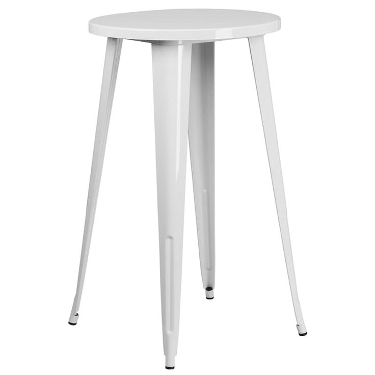 iHome Collins Round 24'' White Metal Bar Height Table for Indoor/Outdoor/Patio/Bar/Restaurant, Patio Furniture
