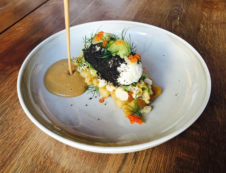 "Norwegian cod ""Skrei"" with green asparagus-leek ragout,potato noodles and morel-mushroom sauce."