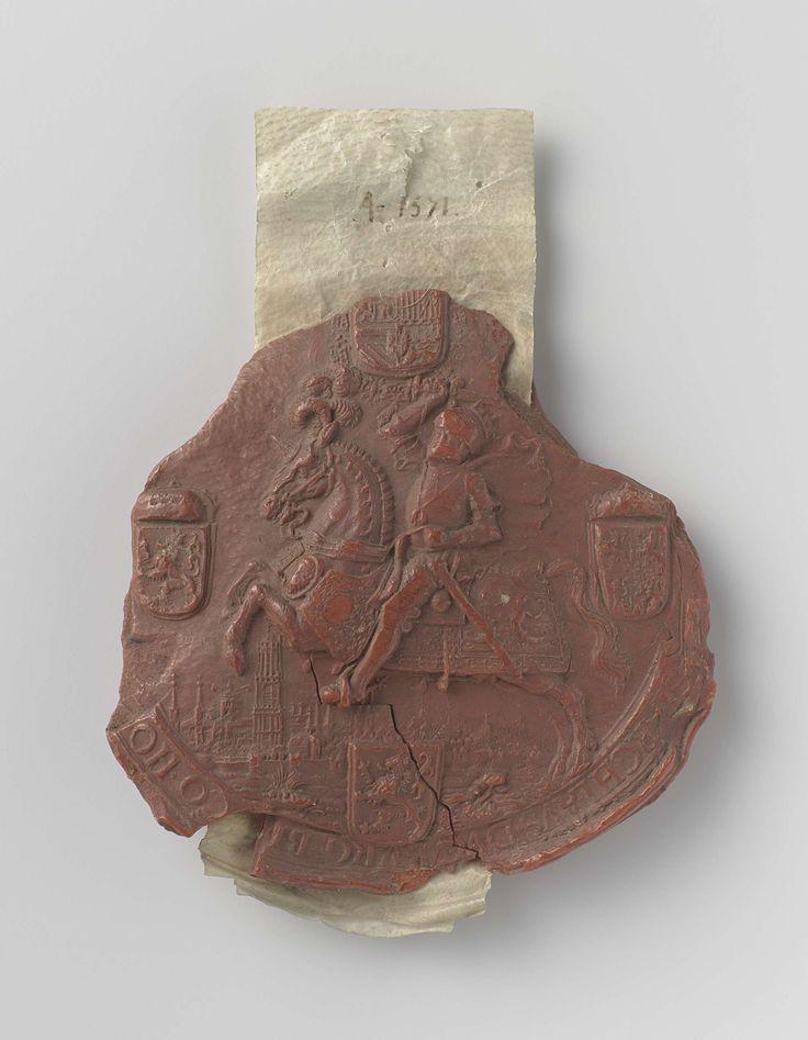 | Lakzegel van Filips II., 1571 | Zegel in rode was. Voorzijde: naar links galopperend paard met een man in volle wapenrusting. De man heeft een zwaard in de opgeheven rechterhand. Onderaan is een stadsgezicht weergegeven. Boven, onder, links en rechts wapenschilden.