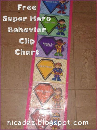 Free Superhero theme - Behavior Clip Chart System - for your classroom #school