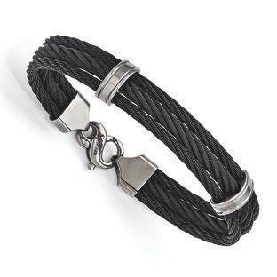 Men's Triple Black Memory Cable Link Titanium Bracelet Jewelry #Christmas 2016 #Jewelry #Personalized #Unique #Simple #Gifts @ Gemologica.com #Xmas #Gift guide finder ideas for #Him #Her #Kids #Jewellery #couponcode #deals #sale Stocking Stuffer #Ideas. #Presents for girlfriends, boyfriends, children, men, women from the #Gemologica Jewelry Store. #Earrings #Rings #Necklaces #Bracelets #Gold #Silver #Fashion #Style